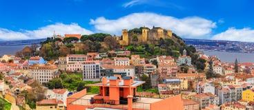 Panorama von Lissabon, Stadtbild in einer Tageszeit lizenzfreie stockfotografie