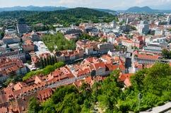 Panorama von Ljubljana, Slowenien Lizenzfreies Stockbild