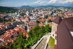 Panorama von Ljubljana, Slowenien Lizenzfreie Stockfotos