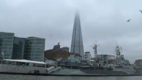 Panorama von London von der Themse stock video footage