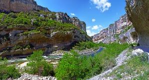 Panorama von Lumbier-Schlucht auf spanisch Navarra Stockfotos