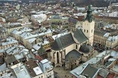 Panorama von Lvov Stadt von der Höhe Lizenzfreies Stockfoto