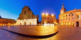 Panorama von Marktplatz Maggiore-Quadrat, Bologna, Italien Stockbild