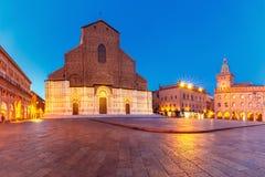 Panorama von Marktplatz Maggiore-Quadrat, Bologna, Italien lizenzfreie stockfotografie