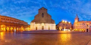 Panorama von Marktplatz Maggiore-Quadrat, Bologna, Italien Lizenzfreies Stockbild
