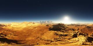 Panorama von Mars-Sonnenuntergang Marslandschaft, Karte der Umwelt 360 HDRI Equirectangular-Projektion, kugelförmiges Panorama lizenzfreie abbildung