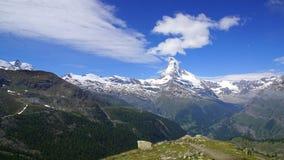 Panorama von Matterhorn, die Schweiz Stockfotografie