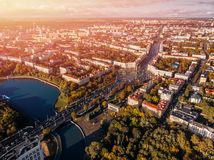 Panorama von Minsk-Stadt Weißrussland lizenzfreie stockbilder