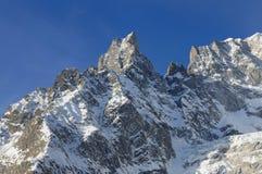 Panorama von Mont Blanc Chain in ` Aosta Valle D Lizenzfreie Stockfotos