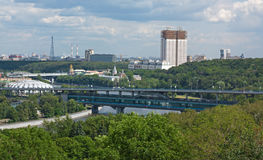 Panorama von Moskau von den Spatzenhügeln, Russland Lizenzfreies Stockfoto