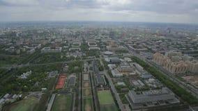 Panorama von Moskau von der Höhe des Vogelfluges stock footage