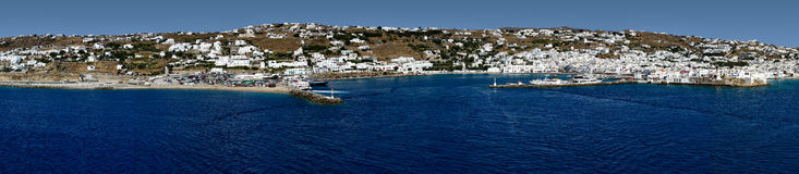 Panorama von Mykonos Stockfoto