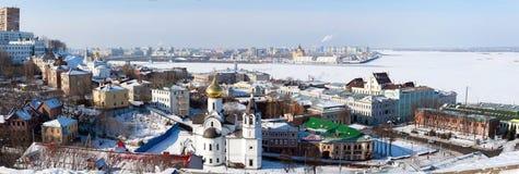 Panorama von Nischni Nowgorod im Winter Lizenzfreies Stockbild