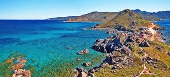 Panorama von Parata-Halbinsel in West-Korsika Stockbild