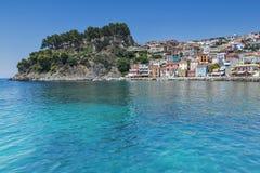 Panorama von Parga-Stadt, Epirus Lizenzfreie Stockbilder