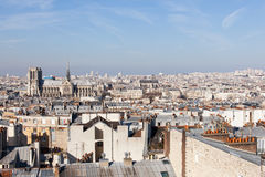 Panorama von Paris mit Kathedrale Notre Dame de Paris stockfotografie