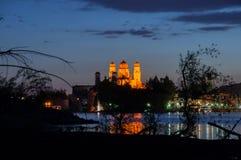 Panorama von Passau nachts Lizenzfreie Stockfotografie
