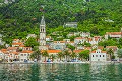 Panorama von Perast, Kotor-Bucht, Montenegro, adriatisches Meer Stockbild