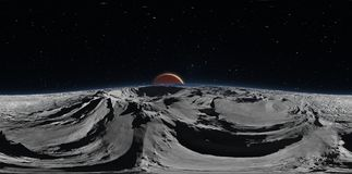 Panorama von Phobos mit dem roten Planeten Mars im Hintergrund, Karte der Umwelt HDRI Equirectangular-Projektion lizenzfreie abbildung