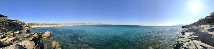 Panorama von Plaka-Strand in Naxos-Insel Stockbilder