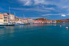 Panorama von Porto Azzurro auf Elba Island, Italien stockbilder