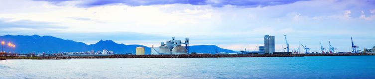 Panorama von Puerto de Castellon - Handelsindustriehafen Lizenzfreies Stockbild