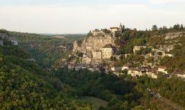 Panorama von Rocamadour vom Norden Stockfotos