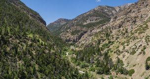 Panorama von Rocky Mountain Canyon Stockbilder
