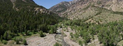 Panorama von Rocky Mountain Valley und von Strom Stockbilder
