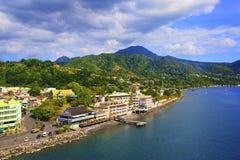 Panorama von Roseau, Dominica, karibisch lizenzfreies stockbild