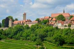 Panorama von Rothenburg-ob der Tauber, Deutschland Lizenzfreies Stockfoto