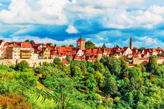 Panorama von Rothenburg-ob der Tauber, Deutschland Stockbilder