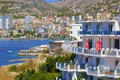 Panorama von Saranda, Albanien lizenzfreie stockfotografie