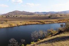 Panorama von See und von Feld in Innere Mongolei Stockfotos