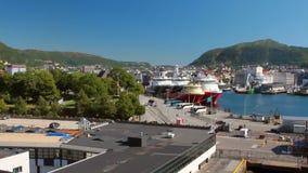 Panorama von Seehafenstadt Bergen, Norwegen stock video footage