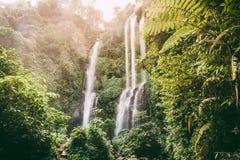 Panorama von Sekumpul-Wasserfällen in Bali, Indonesien lizenzfreies stockbild