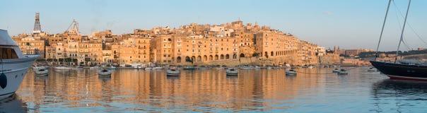Panorama von Senglea-Halbinsel morgens, Malta Lizenzfreies Stockbild