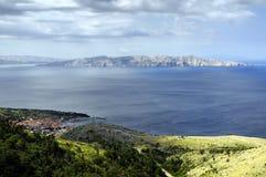 Panorama von Senj, Zengg, Kroatien Stockfotografie