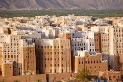 Panorama von Shibam, Hadhramaut Provinz, Yemen Stockbilder
