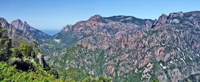 Panorama von Spelunca-Schlucht und von Porto-Tal in Korsika-Insel Lizenzfreies Stockbild