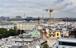 Panorama von St Petersburg, Russland, von der Kolonnade von Heiliges Isaacs-Kathedrale stockfotografie