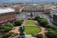 Panorama von St Petersburg, Russland, von der Kolonnade von Heiliges Isaacs-Kathedrale stockbild