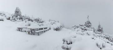Panorama von starken Schneefällen auf den Berg Kalter Wintertag mit dichtem Nebel und Schnee lizenzfreie stockfotografie