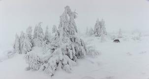 Panorama von starken Schneefällen auf den Berg Kalter Wintertag mit dichtem Nebel und Schnee lizenzfreies stockbild