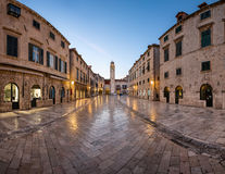 Panorama von Stradun-Straße in Dubrovnik, Dalmatien, Kroatien stockbild