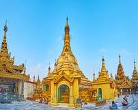 Panorama von Sule Pagoda, Rangun, Myanmar Lizenzfreies Stockfoto