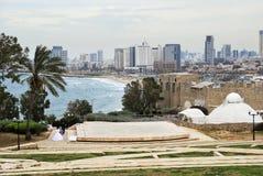 Panorama von Tel Aviv vom Jaffa-Ausblick israel Stockfotografie