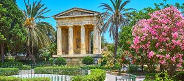 Panorama von unteren Barrakka-Gärten, Valletta, Malta stockfotografie