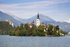 Panorama von verlaufenem See in Slowenien Stockfotos