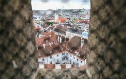 Panorama von Wien von Stephansdom-Kathedrale Lizenzfreie Stockfotografie